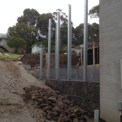 Building the retaining walls for private residence in Lorne